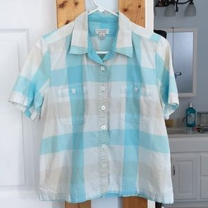 Women's white & turquoise top large (vintage)